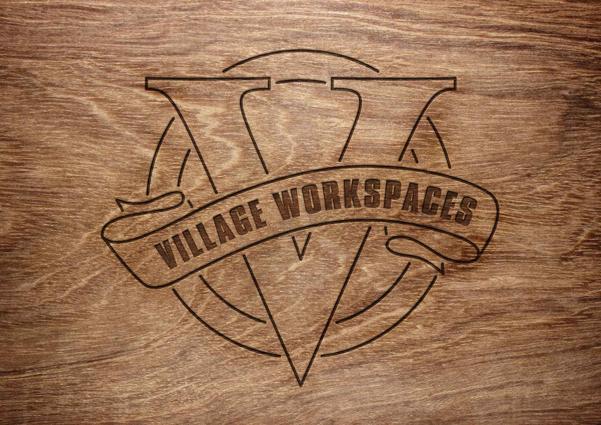 village-workspaces-logo-wood-engraving